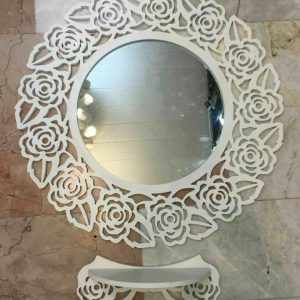 شلف آینه طرح گل رز