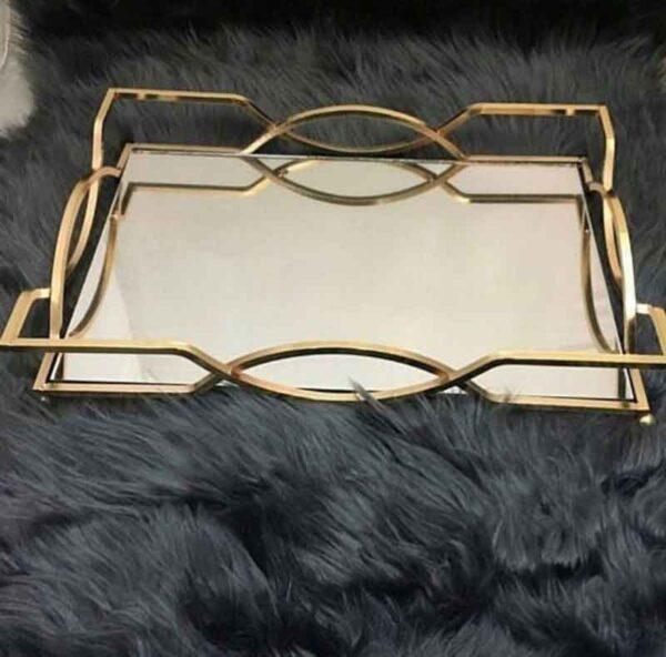 سینی آینه ای طرح آنتیک