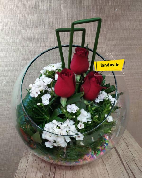 تنگ شیشه ای گل طبیعی