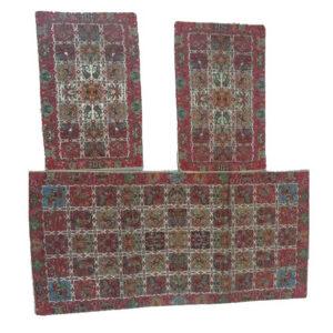 ترمه رومیزی سه تیکه طرح خشتی