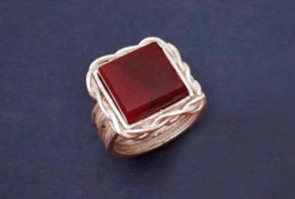 انگشتر ملیله سنگ عقیق کد0011