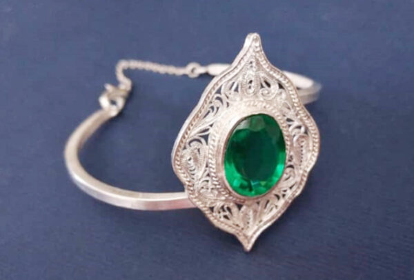 دستبند ملیله سنگ یاقوت سبز کد0024
