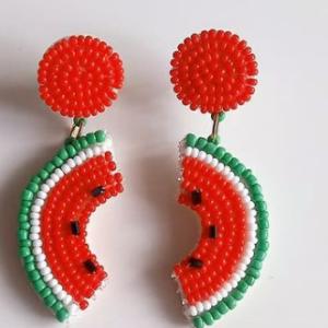 گوشواره منجوق بافی هندوانه کد0017