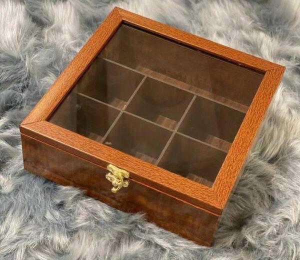 جعبه تی بگ چوبی مربع