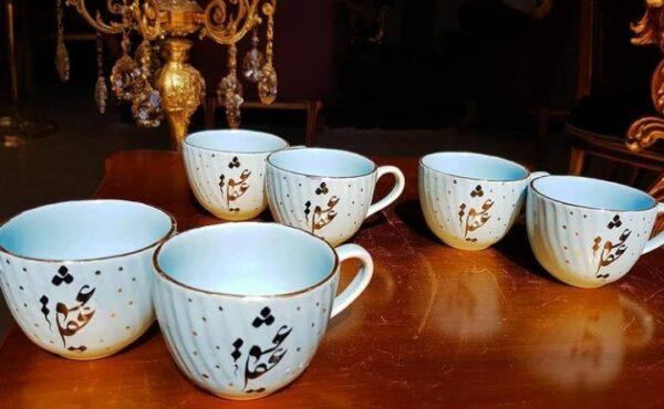 ست فنجان خطی لب طلایی