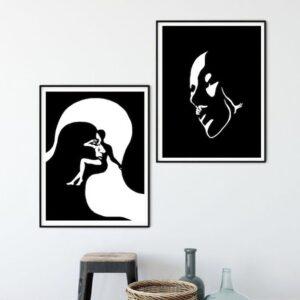 مجموعه تابلو نقاشی سیاه و سفید کد 003