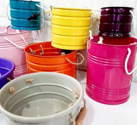 سطل و گلدان های فلزی رنگی