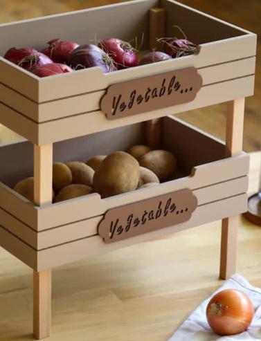 باکس دوطبقه چوبی لوازم و سیب زمینی پیاز